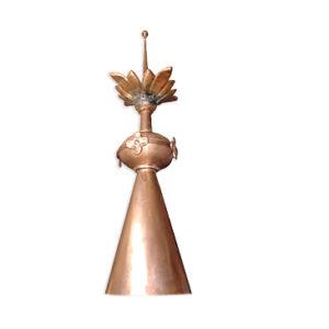 Ozdobna szpica dachowa miedz bogato zdobiona