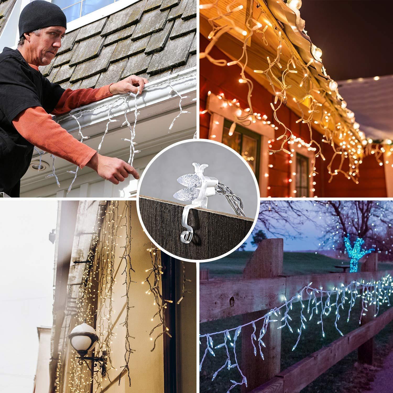 Klipsy do rynny, uniwersalny haczyk do rynny, kompatybilny z mini lampami C9, C7, C6 i LED do mocowania dekoracji świątecznych do rynny, dachów, gontów, linii kalenicy, ogrodzeń