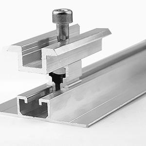 Profil aluminiowy – mocowanie w układzie pionowym + zacisk środkowy
