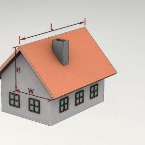 Grafika wzór na obliczenie efektywnej powierzchni dachu