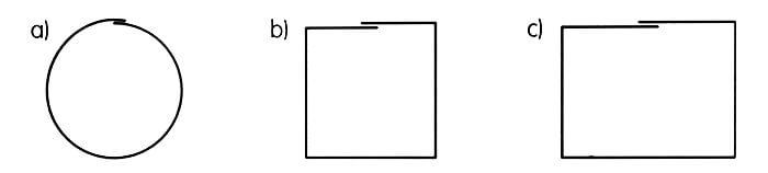Przekroje rur spustowych: a) kołowy, b) kwadratowy, c) prostokątny