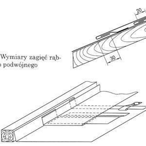 Zaginanie bocznej krawędzi rzędu połączonych wcześniej na i ubek podwójny blach w celu połączenia go z następnym rzędem