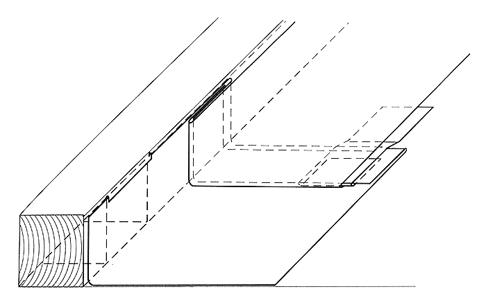Zaginanie bocznej krawędzi rzędu blach połączonych wcześniej narąbek pojedynczy wcelu połączenia go znastępnym rzędem