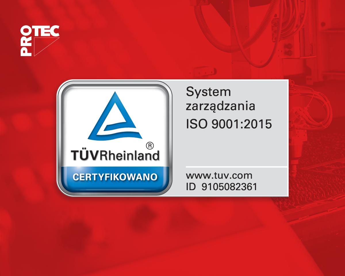 Certyfikat TÜV Rheinland dla PROTEC Sp. z o.o.